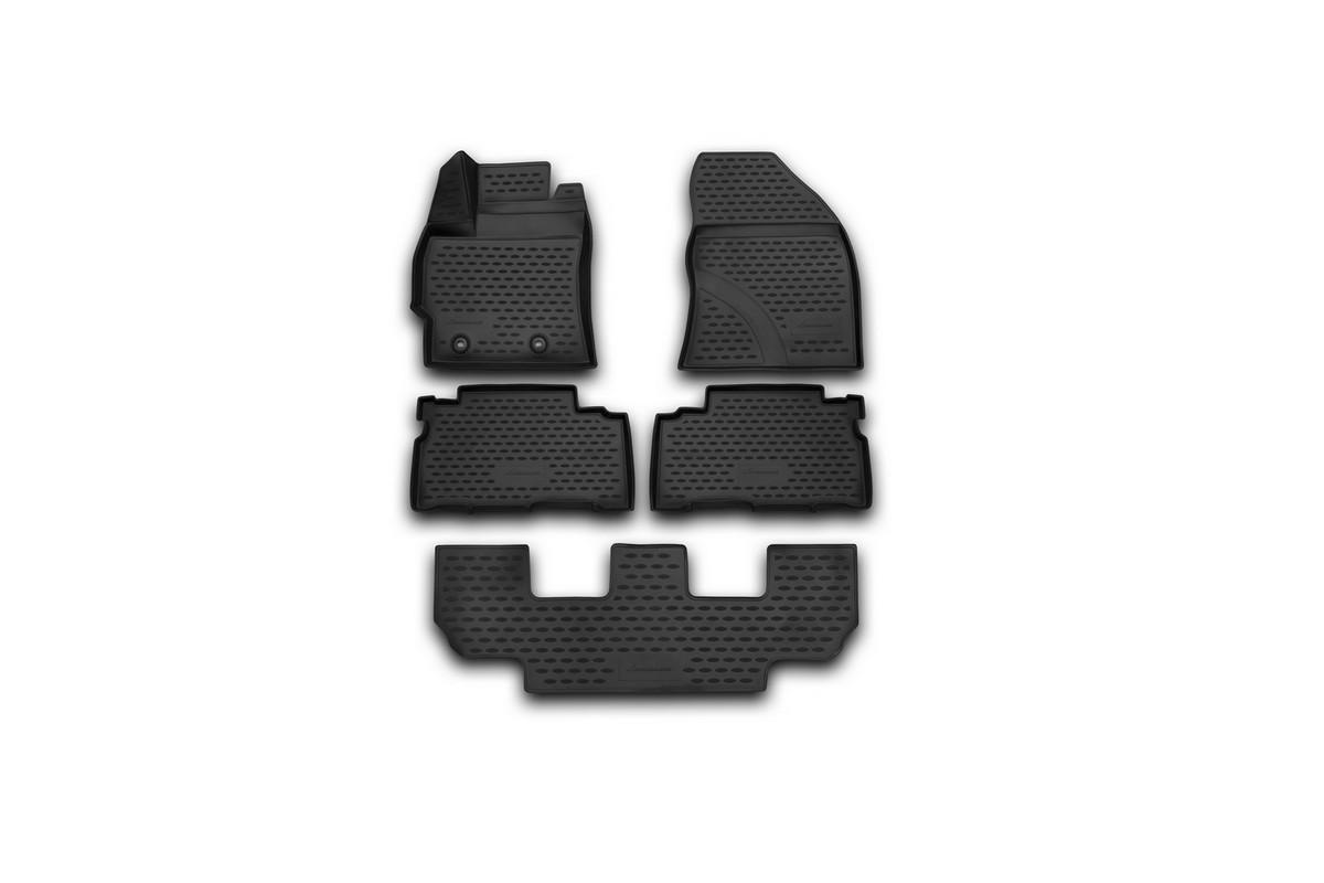 Набор автомобильных 3D-ковриков Novline-Autofamily для Toyota Verso, 2013->, в салон, 5 штNLC.3D.48.61.210kНабор Novline-Autofamily состоит из 5 ковриков, изготовленных из полиуретана.Основная функция ковров - защита салона автомобиля от загрязнения и влаги. Это достигается за счет высоких бортов, перемычки на тоннель заднего ряда сидений, элементов формы и текстуры, свойств материала, а также запатентованной технологией 3D-перемычки в зоне отдыха ноги водителя, что обеспечивает дополнительную защиту, сохраняя салон автомобиля в первозданном виде.Материал, из которого сделаны коврики, обладает антискользящими свойствами. Для фиксации ковров в салоне автомобиля в комплекте с ними используются специальные крепежи. Форма передней части водительского ковра, уходящая под педаль акселератора, исключает нештатное заедание педалей.Набор подходит для Toyota Verso с 2013 года выпуска.