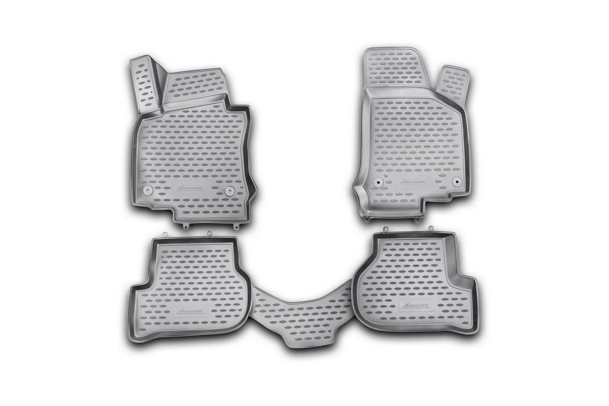 Набор автомобильных 3D-ковриков Novline-Autofamily для Volkswagen Golf VI, 2009->, в салон, 4 штNLC.3D.51.26.210khНабор Novline-Autofamily состоит из 4 ковриков, изготовленных из полиуретана.Основная функция ковров - защита салона автомобиля от загрязнения и влаги. Это достигается за счет высоких бортов, перемычки на тоннель заднего ряда сидений, элементов формы и текстуры, свойств материала, а также запатентованной технологией 3D-перемычки в зоне отдыха ноги водителя, что обеспечивает дополнительную защиту, сохраняя салон автомобиля в первозданном виде.Материал, из которого сделаны коврики, обладает антискользящими свойствами. Для фиксации ковров в салоне автомобиля в комплекте с ними используются специальные крепежи. Форма передней части водительского ковра, уходящая под педаль акселератора, исключает нештатное заедание педалей.Набор подходит для Volkswagen Golf VI с 2009 года выпуска.