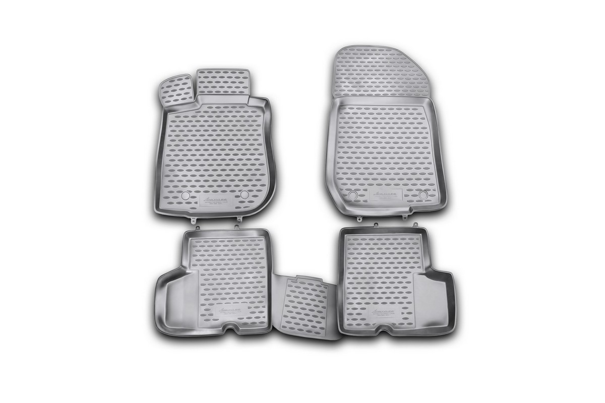 Набор автомобильных ковриков Novline-Autofamily для Renault Logan 2004-2009, 2010-, в салон, 4 штNLC.41.05.210khНабор автомобильных ковриков Novline-Autofamily, изготовленный из полиуретана, состоит из 4 ковриков, которые учитывают все особенности каждой модели автомобиля и полностью повторяют контуры пола. Полиуретановые автомобильные коврики для салона произведены из высококачественного материала, который держит форму, прочный и не пачкает обувь. Коврики в салон не только улучшат внешний вид салона вашего автомобиля, но и надежно уберегут его от пыли, грязи и сырости, а значит, защитят кузов от коррозии. Полиуретановые коврики для автомобиля гладкие, приятные и не пропускают влагу. Ковры для автомобилей надежно крепятся на полу и не скользят, что очень важно во время движения. Чистятся коврики очень просто: как при помощи автомобильного пылесоса, так и различными моющими средствами. Набор подходит для Renault Logan 2004-2009, 2010 и позднее годов выпуска.