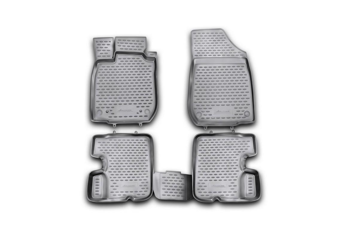 Набор автомобильных ковриков Novline-Autofamily для Renault Sandero 2010-2014, в салон, 4 штNLC.41.18.210khНабор автомобильных ковриков Novline-Autofamily, изготовленный из полиуретана, состоит из 4 ковриков, которые учитывают все особенности каждой модели автомобиля и полностью повторяют контуры пола. Полиуретановые автомобильные коврики для салона произведены из высококачественного материала, который держит форму, прочный и не пачкает обувь. Коврики в салон не только улучшат внешний вид салона вашего автомобиля, но и надежно уберегут его от пыли, грязи и сырости, а значит, защитят кузов от коррозии. Полиуретановые коврики для автомобиля гладкие, приятные и не пропускают влагу. Ковры для автомобилей надежно крепятся на полу и не скользят, что очень важно во время движения. Чистятся коврики очень просто: как при помощи автомобильного пылесоса, так и различными моющими средствами. Набор подходит для Renault Sandero 2010-2014 годов выпуска.