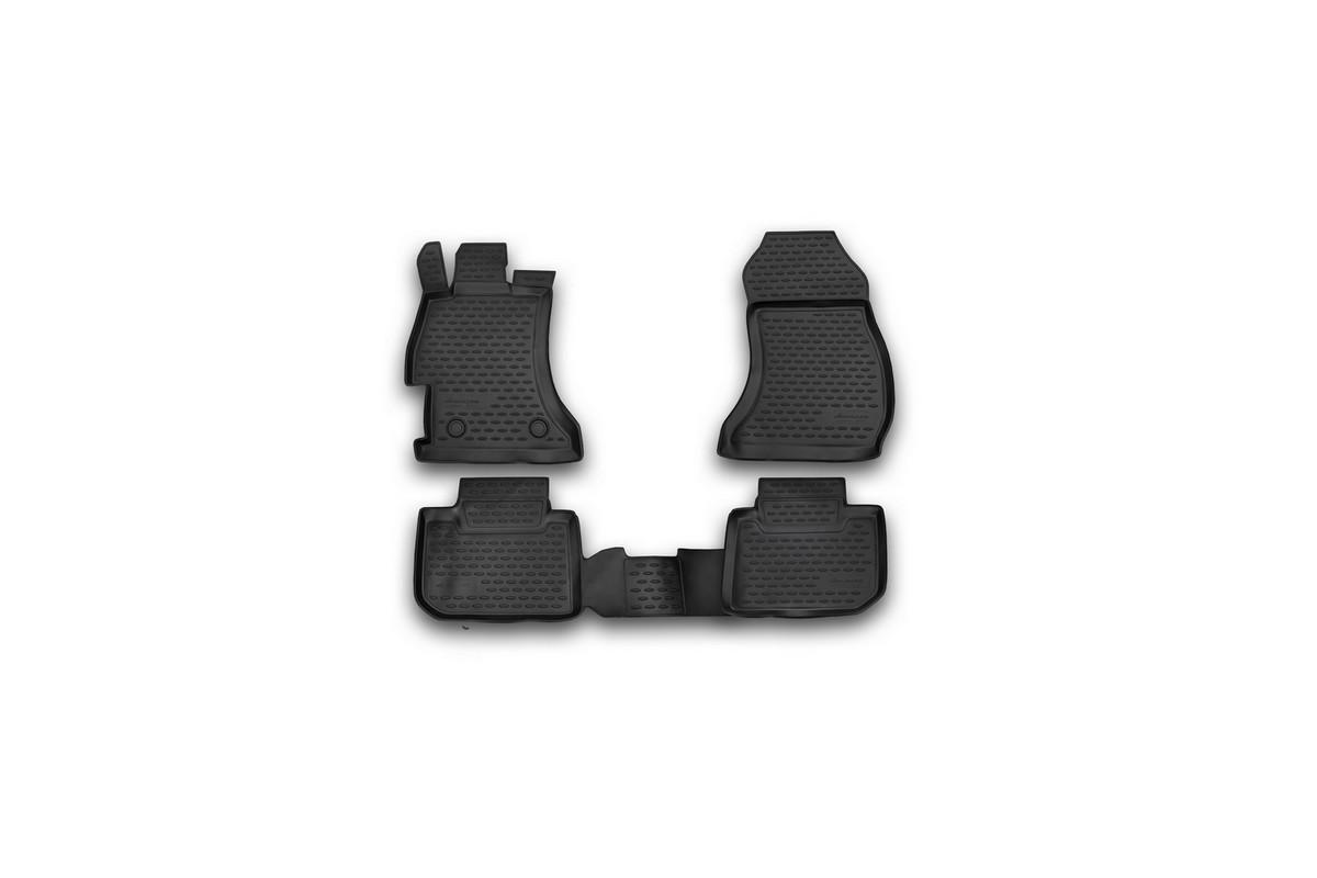 Набор автомобильных ковриков Novline-Autofamily для Subaru XV 2012-, в салон, цвет: черный, 4 штNLC.46.13.210khНабор автомобильных ковриков Novline-Autofamily, изготовленный из полиуретана, состоит из 4 ковриков, которые учитывают все особенности каждой модели автомобиля и полностью повторяют контуры пола. Полиуретановые автомобильные коврики для салона произведены из высококачественного материала, который держит форму, прочный и не пачкает обувь. Коврики в салон не только улучшат внешний вид салона вашего автомобиля, но и надежно уберегут его от пыли, грязи и сырости, а значит, защитят кузов от коррозии. Полиуретановые коврики для автомобиля гладкие, приятные и не пропускают влагу. Ковры для автомобилей надежно крепятся на полу и не скользят, что очень важно во время движения. Чистятся коврики очень просто: как при помощи автомобильного пылесоса, так и различными моющими средствами. Набор подходит для Subaru XV с 2012 года выпуска.