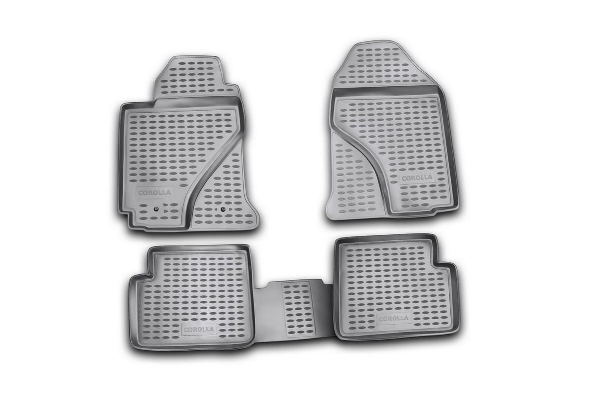 Коврики в салон автомобиля Novline-Autofamily для Toyota Corolla, 06/2002 - 2007, 4 штNLC.48.03.210kКоврики Novline-Autofamily улучшат внешний вид салона автомобиля и надежно уберегут его от пыли, грязи и сырости, а значит, защитят кузов от коррозии. Полиуретановые коврики гладкие, приятные и не пропускает влагу. Полиуретановые автомобильные коврики произведены из высококачественного материала, который держит форму и не пачкает обувь. Коврики надежно крепятся на полу и не скользят, что очень важно во время движения, особенно для водителя. Изделия из полиуретана надежно удерживают грязь и влагу, при этом всегда выглядят довольно опрятно. И чистятся они очень просто: как при помощи автомобильного пылесоса, так и различными моющими средствами.