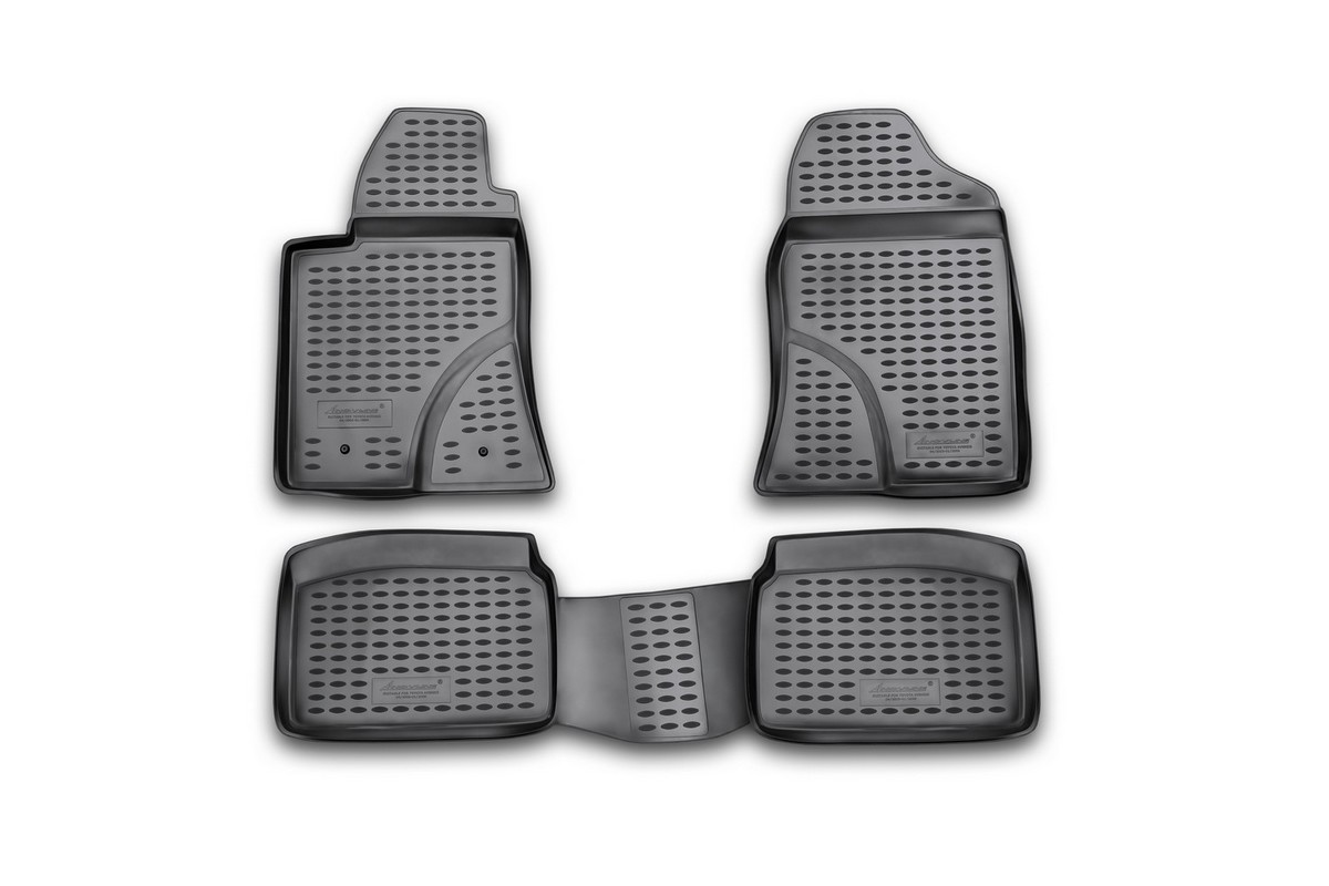 Набор автомобильных ковриков Novline-Autofamily для Toyota Avensis 04/2003-2009, в салон, 4 штNLC.48.04.210kНабор автомобильных ковриков Novline-Autofamily, изготовленный из полиуретана, состоит из 4 ковриков, которые учитывают все особенности каждой модели автомобиля и полностью повторяют контуры пола. Полиуретановые автомобильные коврики для салона произведены из высококачественного материала, который держит форму, прочный и не пачкает обувь. Коврики в салон не только улучшат внешний вид салона вашего автомобиля, но и надежно уберегут его от пыли, грязи и сырости, а значит, защитят кузов от коррозии. Полиуретановые коврики для автомобиля гладкие, приятные и не пропускают влагу. Ковры для автомобилей надежно крепятся на полу и не скользят, что очень важно во время движения. Чистятся коврики очень просто: как при помощи автомобильного пылесоса, так и различными моющими средствами. Набор подходит для Toyota Avensis апреля 2003-2009 годов выпуска.