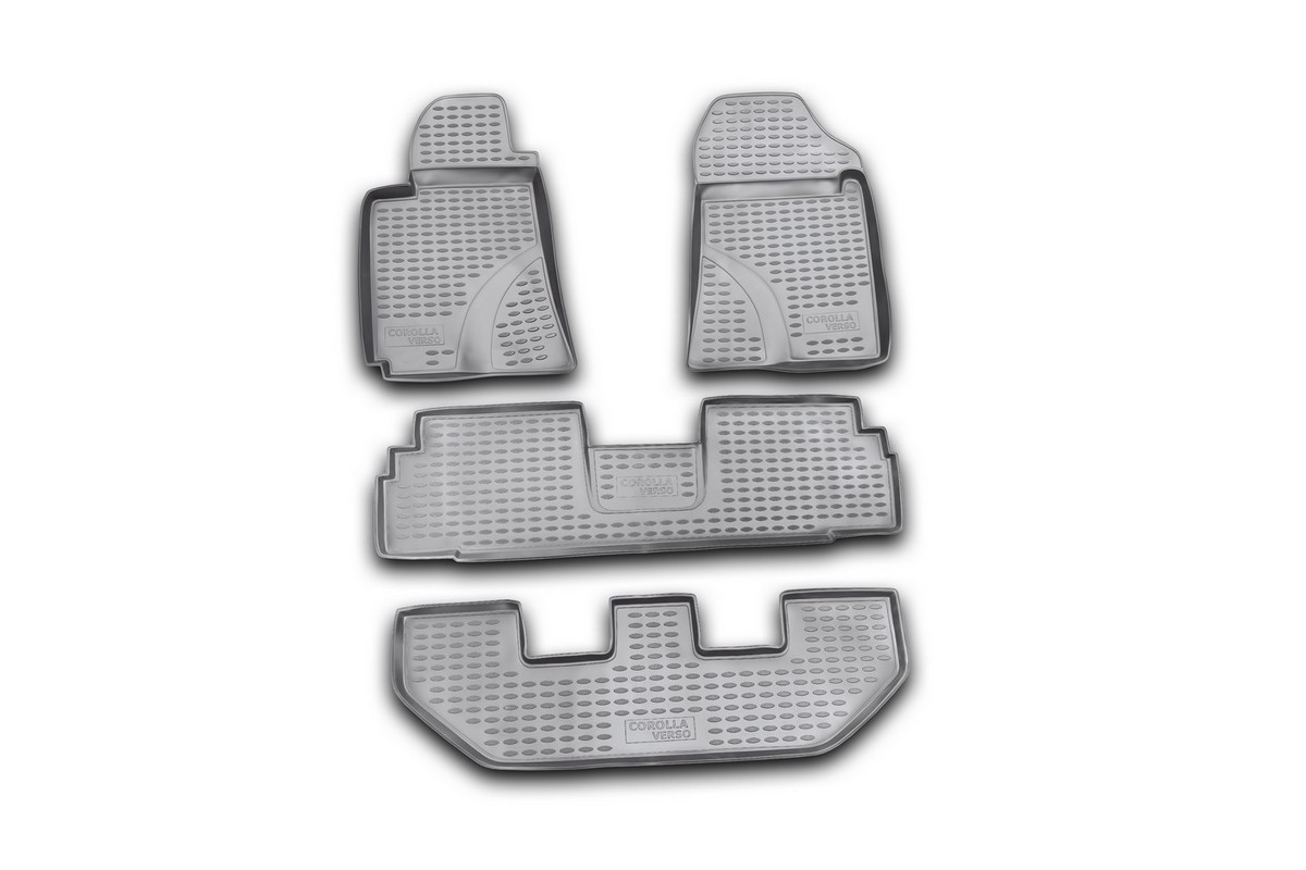 Коврики в салон автомобиля Novline-Autofamily для Toyota Corolla Verso, 03/2004 -10/2009, 4 штNLC.48.13.210kКоврики Novline-Autofamily улучшат внешний вид салона автомобиля и надежно уберегут его от пыли, грязи и сырости, а значит, защитят кузов от коррозии. Полиуретановые коврики гладкие, приятные и не пропускает влагу. Полиуретановые автомобильные коврики произведены из высококачественного материала, который держит форму и не пачкает обувь. Коврики надежно крепятся на полу и не скользят, что очень важно во время движения, особенно для водителя. Изделия из полиуретана надежно удерживают грязь и влагу, при этом всегда выглядят довольно опрятно. И чистятся они очень просто: как при помощи автомобильного пылесоса, так и различными моющими средствами.