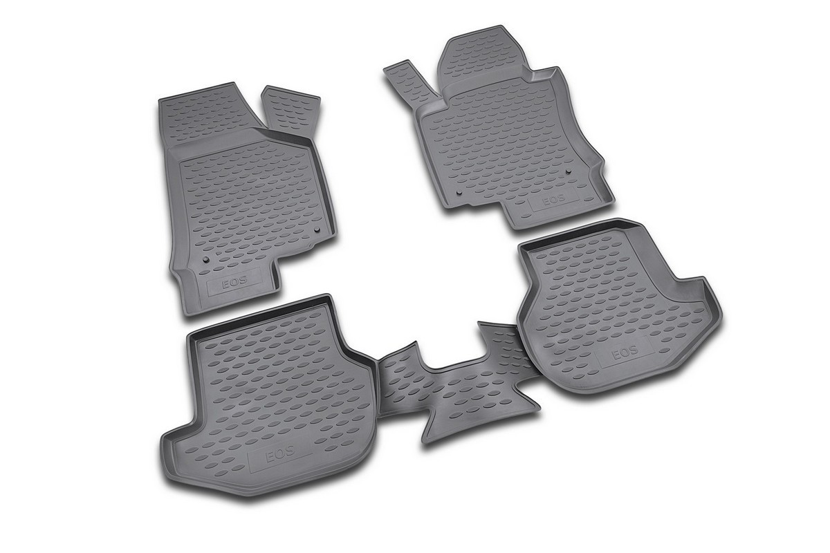 Набор автомобильных ковриков Novline-Autofamily для Volkswagen Eos 05/2007-, в салон, 4 шт. NLC.51.22.210kNLC.51.22.210kНабор автомобильных ковриков Novline-Autofamily, изготовленный из полиуретана, состоит из 4 ковриков, которые учитывают все особенности каждой модели автомобиля и полностью повторяют контуры пола. Полиуретановые автомобильные коврики для салона произведены из высококачественного материала, который держит форму, прочный и не пачкает обувь. Коврики в салон не только улучшат внешний вид салона вашего автомобиля, но и надежно уберегут его от пыли, грязи и сырости, а значит, защитят кузов от коррозии. Полиуретановые коврики для автомобиля гладкие, приятные и не пропускают влагу. Ковры для автомобилей надежно крепятся на полу и не скользят, что очень важно во время движения. Чистятся коврики очень просто: как при помощи автомобильного пылесоса, так и различными моющими средствами. Набор подходит для Volkswagen Eos с мая 2007 годов выпуска.