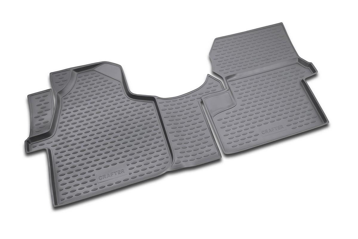 Набор автомобильных ковриков Novline-Autofamily для Volkswagen Crafter 10/2008-, в салон, цвет: черный, 2 штNLC.51.24.210Набор автомобильных ковриков Novline-Autofamily, изготовленный из полиуретана, состоит из 2 ковриков, которые учитывают все особенности каждой модели автомобиля и полностью повторяют контуры пола. Полиуретановые автомобильные коврики для салона произведены из высококачественного материала, который держит форму, прочный и не пачкает обувь. Коврики в салон не только улучшат внешний вид салона вашего автомобиля, но и надежно уберегут его от пыли, грязи и сырости, а значит, защитят кузов от коррозии. Полиуретановые коврики для автомобиля гладкие, приятные и не пропускают влагу. Ковры для автомобилей надежно крепятся на полу и не скользят, что очень важно во время движения. Чистятся коврики очень просто: как при помощи автомобильного пылесоса, так и различными моющими средствами. Набор подходит для Volkswagen Crafter с октября 2008 года выпуска.