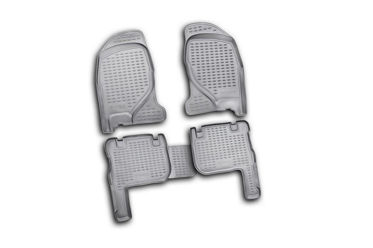 Набор автомобильных ковриков Novline-Autofamily для Great Wall Wingle 2005-, в салон, 4 шт. NLC.59.06.210NLC.59.06.210Набор автомобильных ковриков Novline-Autofamily, изготовленный из полиуретана, состоит из 4 ковриков, которые учитывают все особенности каждой модели автомобиля и полностью повторяют контуры пола. Полиуретановые автомобильные коврики для салона произведены из высококачественного материала, который держит форму, прочный и не пачкает обувь. Коврики в салон не только улучшат внешний вид салона вашего автомобиля, но и надежно уберегут его от пыли, грязи и сырости, а значит, защитят кузов от коррозии. Полиуретановые коврики для автомобиля гладкие, приятные и не пропускают влагу. Ковры для автомобилей надежно крепятся на полу и не скользят, что очень важно во время движения. Чистятся коврики очень просто: как при помощи автомобильного пылесоса, так и различными моющими средствами. Набор подходит для Great Wall Wingle с 2005 года выпуска.