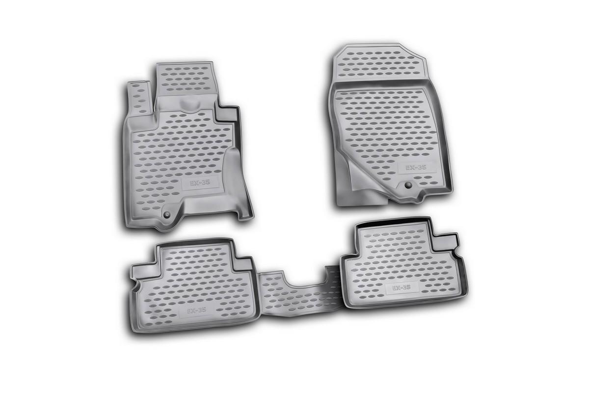 Набор автомобильных ковриков Novline-Autofamily для Infiniti EX35 2008-, в салон, цвет: черный, 4 штNLC.76.03.210Набор автомобильных ковриков Novline-Autofamily, изготовленный из полиуретана, состоит из 4 ковриков, которые учитывают все особенности каждой модели автомобиля и полностью повторяют контуры пола. Полиуретановые автомобильные коврики для салона произведены из высококачественного материала, который держит форму, прочный и не пачкает обувь. Коврики в салон не только улучшат внешний вид салона вашего автомобиля, но и надежно уберегут его от пыли, грязи и сырости, а значит, защитят кузов от коррозии. Полиуретановые коврики для автомобиля гладкие, приятные и не пропускают влагу. Ковры для автомобилей надежно крепятся на полу и не скользят, что очень важно во время движения. Чистятся коврики очень просто: как при помощи автомобильного пылесоса, так и различными моющими средствами. Набор подходит для Infiniti EX35 с 2008 года выпуска.