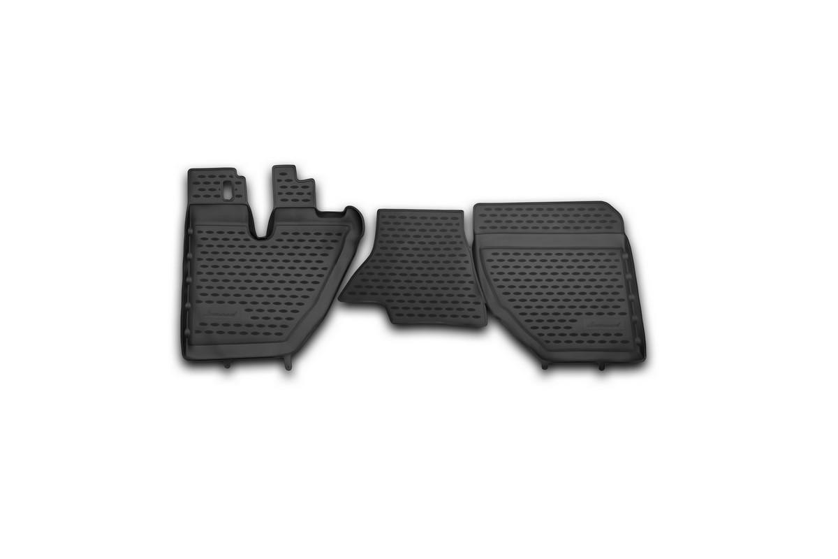 Набор автомобильных ковриков Novline-Autofamily для Hino 300 EURO IV 2011-, в салон, 2 штNLC.84.03.210khНабор автомобильных ковриков Novline-Autofamily, изготовленный из полиуретана, состоит из 2 ковриков, которые учитывают все особенности каждой модели автомобиля и полностью повторяют контуры пола. Полиуретановые автомобильные коврики для салона произведены из высококачественного материала, который держит форму, прочный и не пачкает обувь. Коврики в салон не только улучшат внешний вид салона вашего автомобиля, но и надежно уберегут его от пыли, грязи и сырости, а значит, защитят кузов от коррозии. Полиуретановые коврики для автомобиля гладкие, приятные и не пропускают влагу. Ковры для автомобилей надежно крепятся на полу и не скользят, что очень важно во время движения. Чистятся коврики очень просто: как при помощи автомобильного пылесоса, так и различными моющими средствами. Набор подходит для Hino 300 EURO IV с 2011 года выпуска.