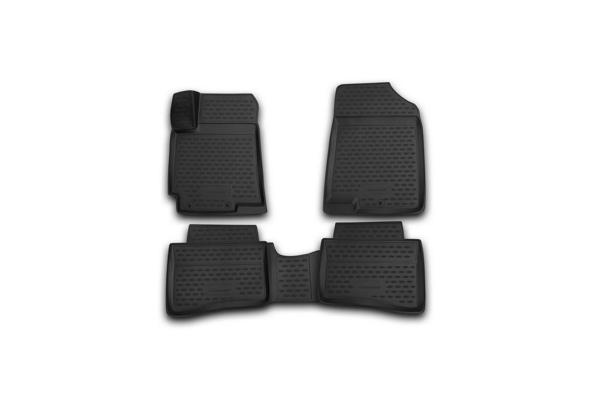 Набор автомобильных 3D-ковриков Novline-Autofamily для Hyundai Solaris, 2014->, седан, хэтчбек, в салон, 4 штORIG.3D.20.59.210Набор Novline-Autofamily состоит из 4 ковриков, изготовленных из полиуретана.Основная функция ковров - защита салона автомобиля от загрязнения и влаги. Это достигается за счет высоких бортов, перемычки на тоннель заднего ряда сидений, элементов формы и текстуры, свойств материала, а также запатентованной технологией 3D-перемычки в зоне отдыха ноги водителя, что обеспечивает дополнительную защиту, сохраняя салон автомобиля в первозданном виде.Материал, из которого сделаны коврики, обладает антискользящими свойствами. Для фиксации ковров в салоне автомобиля в комплекте с ними используются специальные крепежи. Форма передней части водительского ковра, уходящая под педаль акселератора, исключает нештатное заедание педалей.Набор подходит для Hyundai Solaris седан, хэтчбек с 2014 года выпуска.