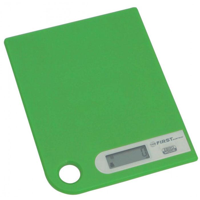 First 6401-1, Green весы кухонныеFA-6401-1 GreenПростые и удобные для использования цифровые весы First 6401-1 с петлей для подвешивания всегда будут под рукой. За ними легко ухаживать - достаточно просто протереть стеклянную поверхность платформы. Для правильной работы максимальный вес продуктов не должен превышать 5 кг.