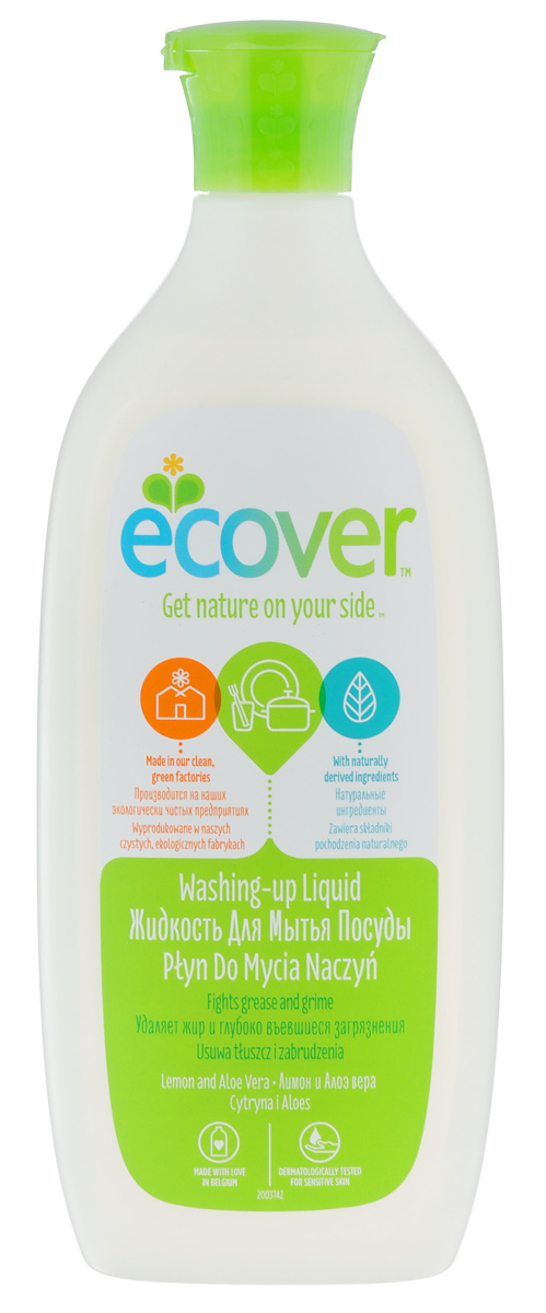 Экологическая жидкость для мытья посуды Ecover, с лимоном и алоэ-вера, 500 мл002232Экологическая жидкость для мытья посуды Ecover эффективно очищает и обезжиривает. Не содержит ингредиентов, наносящих ущерб коже.Экологический препарат Ecover создан только на растительной и минеральной основе, не содержит нефтепродуктов. Препарат полностью биоразлагаем, не наносит ущерб окружающей среде и источникам воды. Характеристики:Объем: 500 мл. Товар сертифицирован.Как выбрать качественную бытовую химию, безопасную для природы и людей. Статья OZON Гид