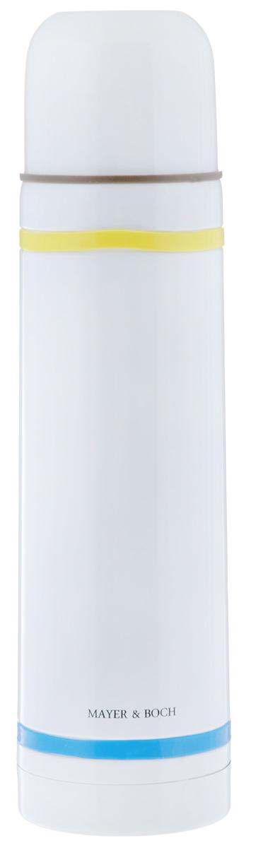 Термос Mayer & Boch, цвет: белый, желтый, голубой, 750 мл21480Термос Mayer & Boch выполнен из высококачественной нержавеющей стали. Цветное покрытие обеспечивает защиту от истирания корпуса, а силиконовые вставки предотвратят скольжение рук. Данная модель термоса прочная, долговечная и в тоже время легкая. Двойные стенки сохраняют температуру в течение 12 часов. Термос имеет вакуумную прослойку между внутренней колбой и внешней стенкой. Специальная термоизоляционная прокладка удерживает тепло. Термос снабжен плотно прилегающей закручивающейся пластиковой пробкой с нажимным клапаном и укомплектован теплоизолированной чашкой из нержавеющей стали и пластика. Для того чтобы налить содержимое термоса, нет необходимости откручивать пробку. Достаточно надавить на клапан, расположенный в центре. Легкий и удобный термос Mayer & Boch станет незаменимым спутником в ваших поездках. Яркий дизайн поднимет настроение в любую погоду и украсит Вашу кухню.Диаметр чашки (по верхнему краю): 7 см. Высота стенки чашки: 5,6 см. Диаметр горлышка термоса: 4,5 см. Диаметр основания термоса: 7,5 см. Высота термоса (с учетом крышки): 28,6 см. Объем: 750 мл.