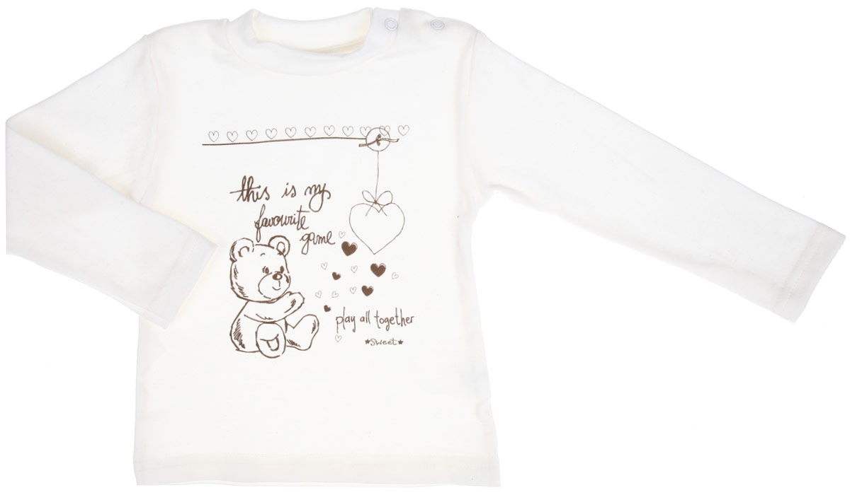 Кофточка детская КотМарКот Мишка, цвет: молочный. 3086. Размер 86, 12 месяцев3086Детская кофточка КотМарКот Мишка послужит идеальным дополнением к гардеробу вашего ребенка, обеспечивая ему наибольший комфорт. Кофточка с длинными рукавами и небольшим воротником-стойкой изготовлена из интерлока - натурального хлопка, благодаря чему она необычайно мягкая и легкая, не раздражает нежную кожу ребенка и хорошо вентилируется, а эластичные швы приятны телу младенца и не препятствуют его движениям. Удобные застежки-кнопки по плечу помогают легко переодеть ребенка. Воротник дополнен трикотажной эластичной резинкой. Спереди изделие оформлено принтом с изображением медвежонка и сердечек, а также принтовыми надписями на английском языке. Кофточка полностью соответствует особенностям жизни ребенка в ранний период, не стесняя и не ограничивая его в движениях. В ней ваш младенец всегда будет в центре внимания.