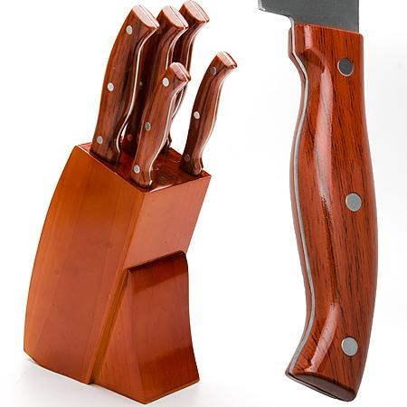 Набор ножей Mayer & Boch, 6 предметов. 2361823618Набор ножей MayerBoch состоит из 5-ти клепаных ножей разного размера. При изготовлении ножей используется высокоуглеродистая закаленная сталь, которая обеспечивает высокие режущие свойства кромки клинка. Сечение клинков ножей - клинообразно, что позволяет режущей кромке продолжительное время оставаться острой. Эргономичные рукоятки ножей, изготовленные из высококачественного пластика с имитацией под дерево, обеспечивают безопасную работу и комфортное положение в руке. Предметы набора компактно размещаются в стильной подставке, выполненной из высококачественной древесины с полимерным покрытием.Физические и практические свойства данного материала гарантируют длительный эксплуатационный период. Такой набор станет великолепным подарком и органично впишется в любой кухонный интерьер. Подходит для мытья в посудомоечной машине.Нож поварской: длина лезвия 20.3 см.Нож хлебный: длина лезвия 20.3 см.Нож разделочный: длина лезвия 20.3 см.Нож универсальный: длина лезвия 12.7 см.Нож для очистки: 8.9 см.