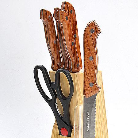 Набор ножей Mayer & Boch, 7 предметов. 398398Замечательный набор ножей из высококачественной нержавеющей стали станет для вас отличным помощником при нарезке овощей,фруктов имяса. Специальный дизайн ручки из пластика обеспечивает безопасную работу и комфортное положение в руке. Подставка для ножей из дерева, которая входит в набор, сэкономит место на рабочем столе, В набор входят: нож для рубки - длина лезвия 15,2 см, нож для хлеба - длина лезвия 17,8 см, нож разделочный - длина лезвия 13,3 см, ножуниверсальный - длина лезвия 11,4 см, нож для очистки - длина лезвия 8,9 см, ножницы - длина 21,6 см.