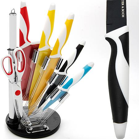 Набор ножей Mayer & Boch, 8 предметов. 2420024200Набор MayerBoch предоставит вам все необходимые возможности в успешном приготовлении пищи и порадует вас своими результатами.При изготовлении ножей используется высоко-углеродистая каленая сталь , которая обеспечивает высокие режущие свойства кромки клинка.Сечение клинка ножей - клинообразно, что позволяет режущей кромке быть продолжительное время острой, а покрытие NON STICK защититлезвие от механических повреждений и от окисления. Рукоятка ножей изготовлена из противоскользящего цветного полипропилена итермопластика. Предметы набора компактно размещаются в стильной подставке в форме полувеера, которая выполнена из высококачественного прозрачногоакрила. Физические и практические свойства данного материала гарантируют длительный эксплуатационный период. В набор входят: нож для разделки мяса - длина лезвия 17.8,см, нож поварской - длина лезвия 20.3 см, нож разделочный - длина лезвия 20.3 см,нож универсальный - длина лезвия 12.7 см, нож для очистки - длина лезвия 8.9 см, точилка - 19.1 см, ножницы.