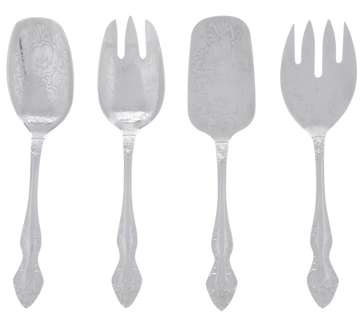 """Набор столовых приборов """"Тройка"""" изготовлен из высококачественной нержавеющей стали. Он станет незаменимым помощником на кухне и за праздничным столом. В набор входят самые необходимые кухонные аксессуары: вилка для раскладки рыбы, вилка для салата, ложка для салата и лопатка для пирожного. Ручки изделий оснащены рельефным рисунком, а рабочая поверхность изделий украшена художественной росписью.Можно использовать в посудомоечной машине. Длина вилки для рыбы: 21,5 см.Размер рабочей поверхности вилки для рыбы: 7 см х 5,5 см.Длина вилки для салата: 21,5 см.Размер рабочей поверхности вилки для салата: 7,5 см х 5 см.Длина ложки: 31 см.Размер рабочей поверхности ложки: 9 см х 7 см.Длина ложки для салата: 21,5 см.Размер рабочей поверхности ложки для салата: 7 см х 5 см.Длина лопатки для пирожного: 22 см.Размер рабочей поверхности лопатки для пирожного: 8 см х 5 см."""