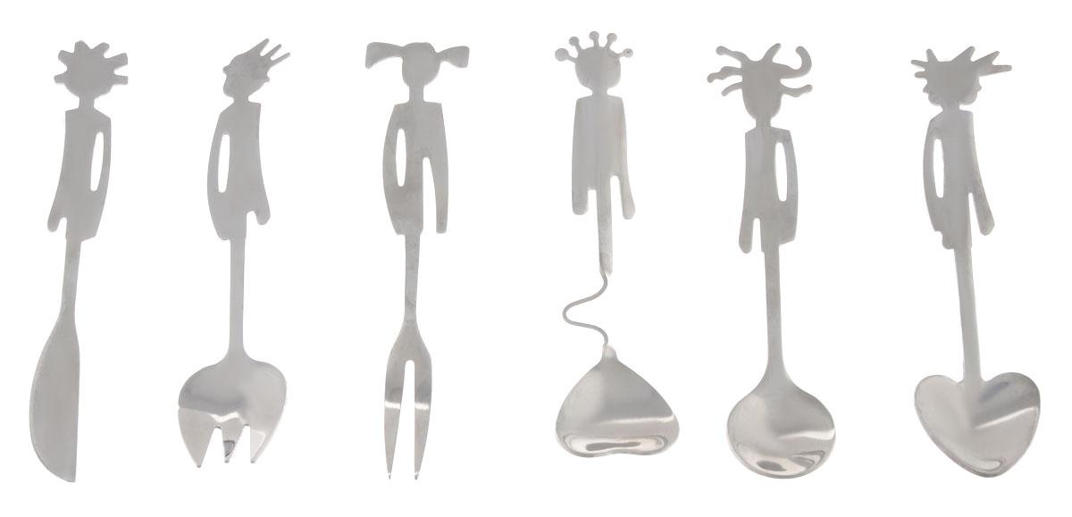 Набор детских столовых приборов Эврика, 6 предметов93642Набор столовых приборов Эврика изготовлен из стали и состоит из 3 ложек, ножа и 2 вилок. Ручки приборов оформлены фигурками человечков. Столовые приборы прекрасно подойдут для сервировки детского стола. Длина приборов: 12 см.