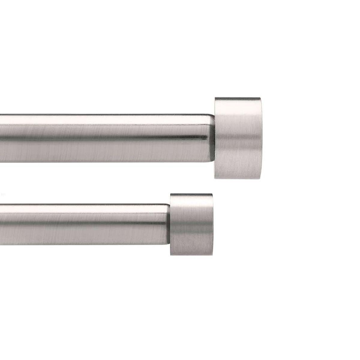Карниз двухрядный Umbra Cappa, длина 91-183 см245963-410Двухрядный карниз Umbra Cappa выполнен из нержавеющей стали. Имеет телескопическую конструкцию, которая позволяет регулировать его длину, и металлические украшения в виде насадок по краям.Такой карниз будет органично смотреться в любом интерьере.Диаметр переднего карниза: 19 мм. Диаметр заднего карниза: 16 мм. Крепления идут в комплекте.