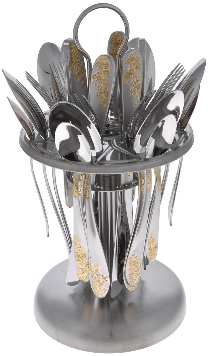 """Набор столовых приборов """"Mayer & Boch"""" выполнен из прочной нержавеющей стали. В набор входит 25 предметов: 6 обеденных ножей, 6 обеденных ложек, 6 обеденных вилок, 6 чайных ложек и подставка. Матовые ручки приборов украшены красивым рельефным узором с золотистым покрытием. Предметы набора расположены на круглой подставке из стали, набор на каждую персону имеет отдельную секцию. Подставка оснащена удобной ручкой для переноски. Столовые приборы высокого качества будут доставлять вам удовольствие при каждом приеме пищи. Они подойдут как для повседневного использования, так и для торжественных случаев. Можно мыть в посудомоечной машине. Длина столовой ложки/вилки: 20 см. Длина чайной ложки: 14 см. Длина ножа: 22,5 см. Размер подставки: 15 см х 15 см х 30 см."""