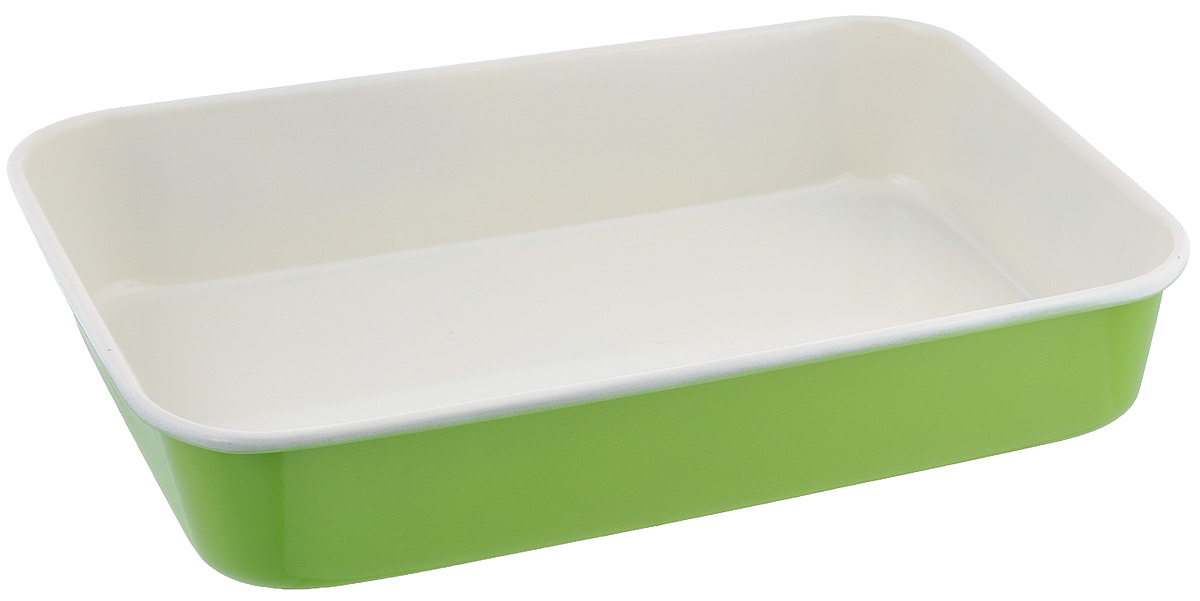 Противень Mayer & Boch, с керамическим покрытием, прямоугольный, цвет: салатовый, 40 х 28 х 7,6 см22255Противень Mayer & Boch выполнен из высококачественной углеродистой стали и снабжен антипригарным керамическим покрытием, что обеспечивает ему прочность и долговечность. Противень равномерно и быстро прогревается, что способствует лучшему пропеканию пищи. Его легко чистить. Готовая выпечка без труда извлекается. Противень подходит для использования в духовке с максимальной температурой 250°С. Перед каждым использованием противень необходимо смазать небольшим количеством масла. Простой в уходе и долговечный в использовании противень Mayer & Boch станет верным помощником в создании ваших кулинарных шедевров. Не рекомендуется мыть в посудомоечной машине.Размер противня: 40 х 28 х 7,6 см. Толщина стенки противня: 0,6 мм.