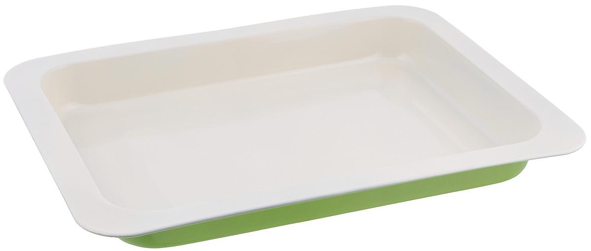 Противень Mayer & Boch, с керамическим покрытием, прямоугольный, цвет: салатовый, 42,5 см х 31,5 см х 4,5 см22251Противень Mayer & Boch выполнен из высококачественной углеродистой стали и снабжен антипригарным керамическим покрытием, что обеспечивает ему прочность и долговечность. Противень равномерно и быстро прогревается, что способствует лучшему пропеканию пищи. Его легко чистить. Готовая выпечка без труда извлекается. Противень подходит для использования в духовке с максимальной температурой 250°С. Перед каждым использованием противень необходимо смазать небольшим количеством масла. Простой в уходе и долговечный в использовании противень Mayer & Boch станет верным помощником в создании ваших кулинарных шедевров. Не рекомендуется мыть в посудомоечной машине.Размер противня: 42,5 см х 31,5 см х 4,5 см. Толщина стенки: 0,5 мм.