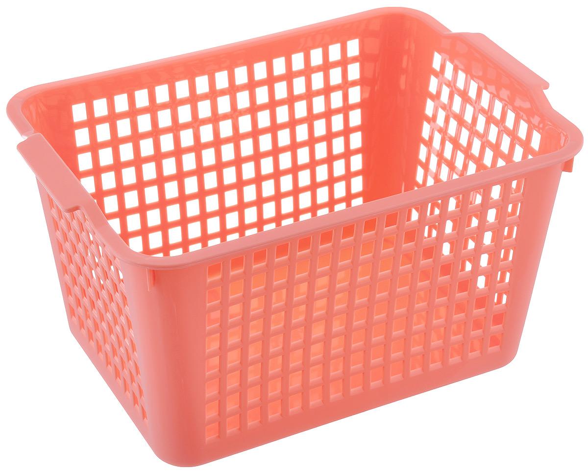 Корзинка Econova, цвет: коралловый, 27 х 19 х 14,5 см718341Корзинка Econova, изготовленная из высококачественного прочного пластика, предназначена для хранения мелочей в ванной, на кухне, даче или гараже. Изделие оснащено двумя удобными ручками.Это легкая корзина со сплошным дном, жесткой кромкой и небольшими отверстиями позволяет хранить мелкие вещи, исключая возможность их потери.