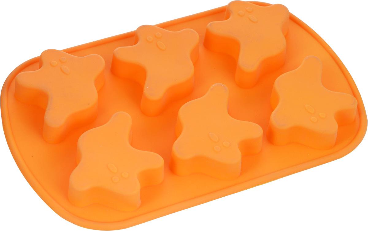 Форма для выпечки Mayer & Boch, силиконовая, цвет: оранжевый, 6 ячеек, 24 х 16 х 2 см3715Квадратная форма для выпечки Mayer & Boch изготовлена из силикона. С ее помощью можно делать выпечку в виде привидений.Силикон - материал, который выдерживает температуру от -40°С до +230°С. Изделия из силикона очень удобны в использовании: пища в них не пригорает и не прилипает к стенкам, форма легко моется. Приготовленное блюдо можно очень просто вытащить, просто перевернув форму, при этом внешний вид блюда не нарушится. Изделие обладает эластичными свойствами: складывается без изломов, восстанавливает свою первоначальную форму. Порадуйте своих родных и близких любимой выпечкой в необычном исполнении. Подходит для приготовления в микроволновой печи и духовом шкафу при нагревании до +230°С; для замораживания до -40°.Можно мыть в посудомоечной машине.Размер одной ячейки: 7 х 6,4 х 1,5 см. Как выбрать форму для выпечки – статья на OZON Гид.