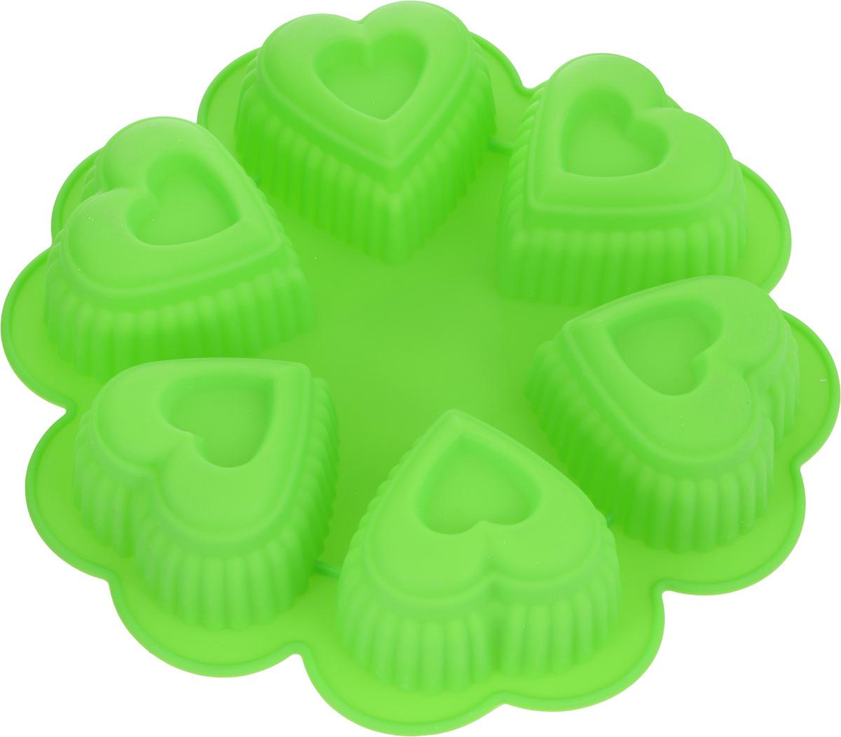 Форма для выпечки Marmiton Сердце, цвет: салатовый, 25,5 х 25,5 х 5 см, 6 ячеек16027_салатовыйФорма для выпечки Marmiton Сердце выполнена из силикона. На одном листе расположены 6 ячеек в виде сердец. Благодаря тому, что форма изготовлена из силикона, готовый лед, выпечку или мармелад вынимать легко и просто.Материал устойчив к фруктовым кислотам, может быть использован в духовках и микроволновых печах (выдерживает температуру от -40°С до 230°С). Можно мыть и сушить в посудомоечной машине.Общий размер формы: 25,5 х 25,5 х 5 см.Размер ячейки: 8 х 8 х 5 см.