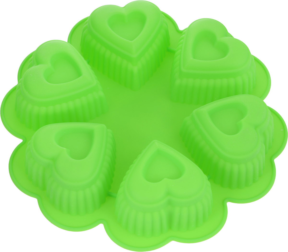 Форма для выпечки Marmiton Сердце, цвет: салатовый, 25,5 х 25,5 х 5 см, 6 ячеек набор форм для запекания marmiton 32 х 26 х 6 5 см 3 шт