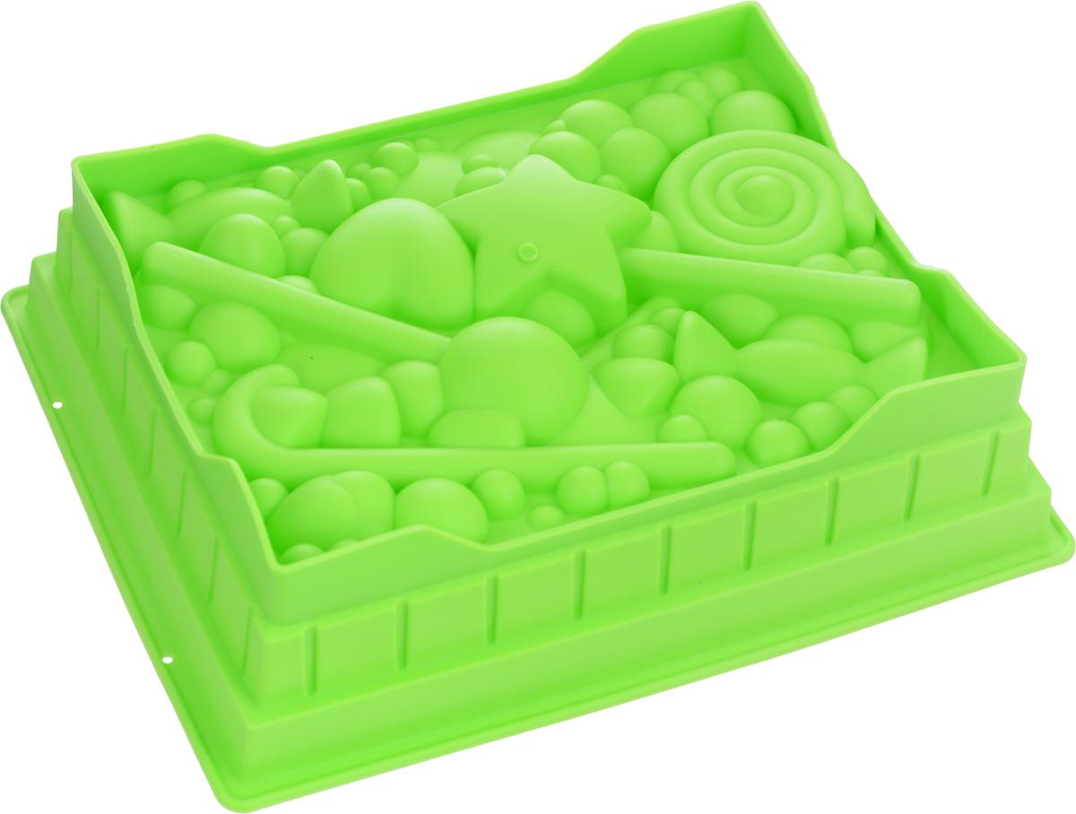 Форма для выпечки Mayer & Boch, силиконовая, цвет: салатовый, 27 смх 22 х 7 см24623_салатовыйКвадратная форма для выпечки Mayer & Boch изготовлена из силикона в виде различных сладостей и фигурок.Силикон - материал, который выдерживает температуру от -40°С до +230°С. Изделия из силикона очень удобны в использовании: пища в них не пригорает и не прилипает к стенкам, форма легко моется. Приготовленное блюдо можно очень просто вытащить, просто перевернув форму, при этом внешний вид блюда не нарушится. Изделие обладает эластичными свойствами: складывается без изломов, восстанавливает свою первоначальную форму. Порадуйте своих родных и близких любимой выпечкой в необычном исполнении. Подходит для приготовления в микроволновой печи и духовом шкафу при нагревании до +230°С; для замораживания до -40°.Можно мыть в посудомоечной машине.