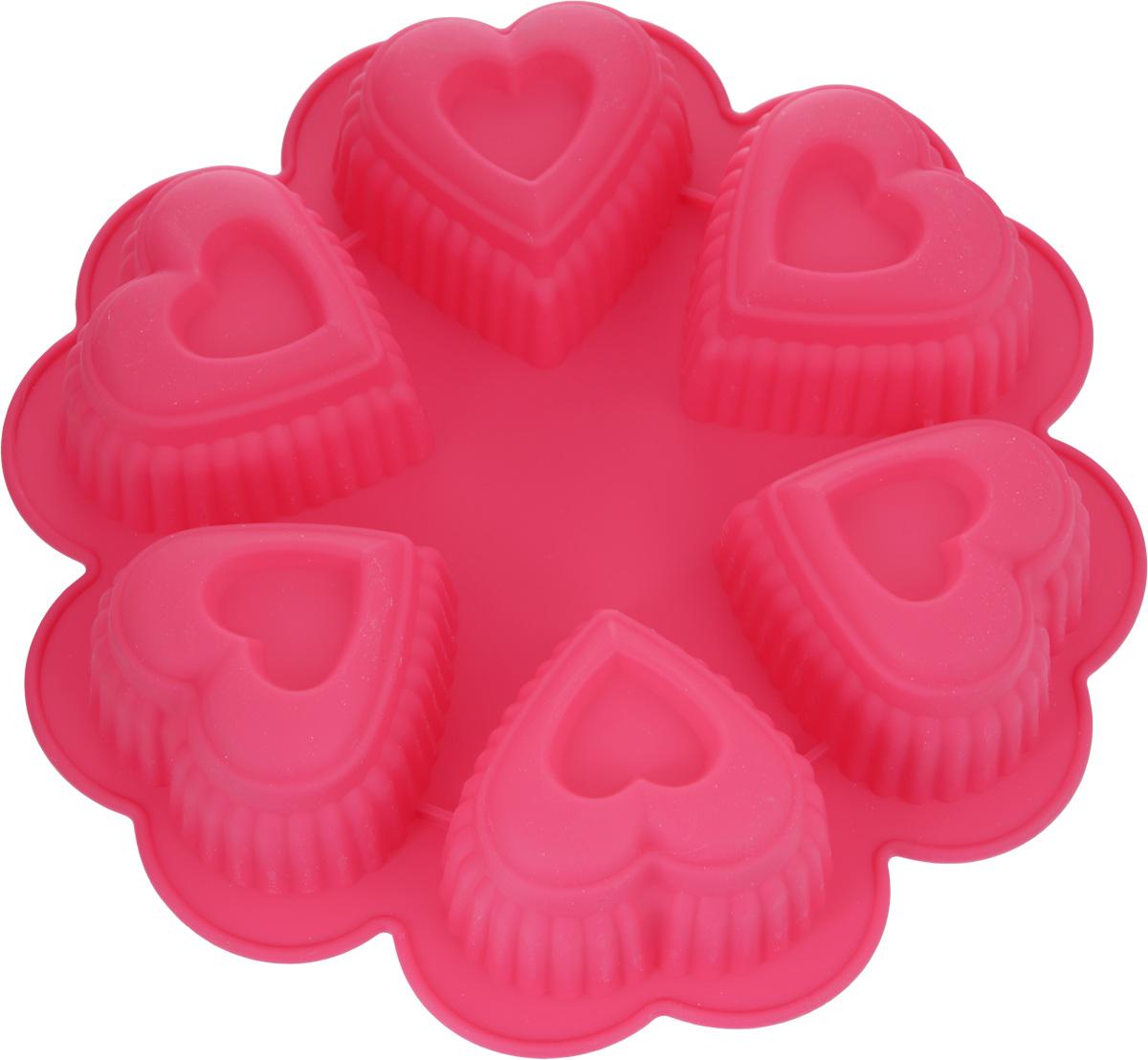 Форма для выпечки Marmiton Сердце, цвет: малиновый, 25,5 х 25,5 х 5 см, 6 ячеек16027_малиновыйФорма для выпечки Marmiton Сердце выполнена из силикона. На одном листе расположены 6 ячеек в виде сердец. Благодаря тому, что форма изготовлена из силикона, готовый лед, выпечку или мармелад вынимать легко и просто.Материал устойчив к фруктовым кислотам, может быть использован в духовках и микроволновых печах (выдерживает температуру от -40°С до 230°С). Можно мыть и сушить в посудомоечной машине.Общий размер формы: 25,5 х 25,5 х 5 см.Размер ячейки: 8 х 8 х 5 см.