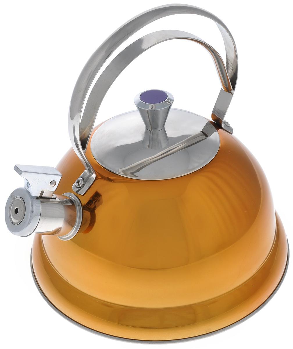 """Чайник Bekker """"De Luxe"""" изготовлен из высококачественной нержавеющей стали с цветным зеркальным покрытием. Капсулированное дно распределяет тепло по всей поверхности, что позволяет чайнику быстро закипать. Крышка и эргономичная фиксированная ручка выполнены из нержавеющей стали. Носик оснащен откидным свистком, который подскажет, когда закипела вода. Подходит для всех типов плит, кроме индукционных. Можно мыть в посудомоечной машине. Диаметр (по верхнему краю): 10 см. Толщина стенки: 0,4 мм.Высота чайника (без учета ручки и крышки): 12,5 см. Высота чайника (с учетом ручки и крышки): 24,5 см."""