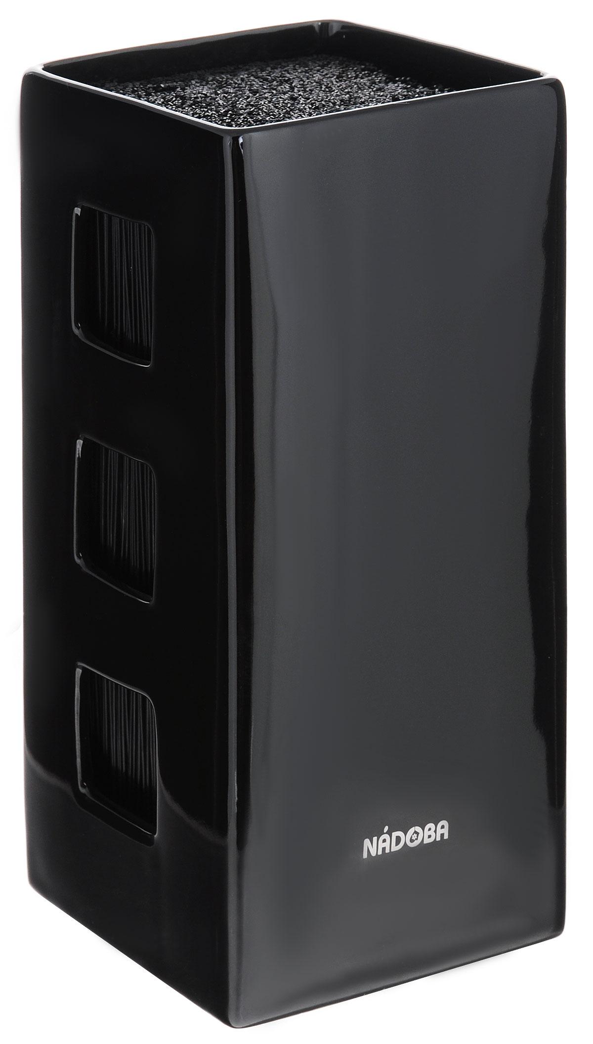 Универсальный керамический блок для ножей Nadoba Esta, цвет: черный подставка для ножей nadoba esta красный керамическая