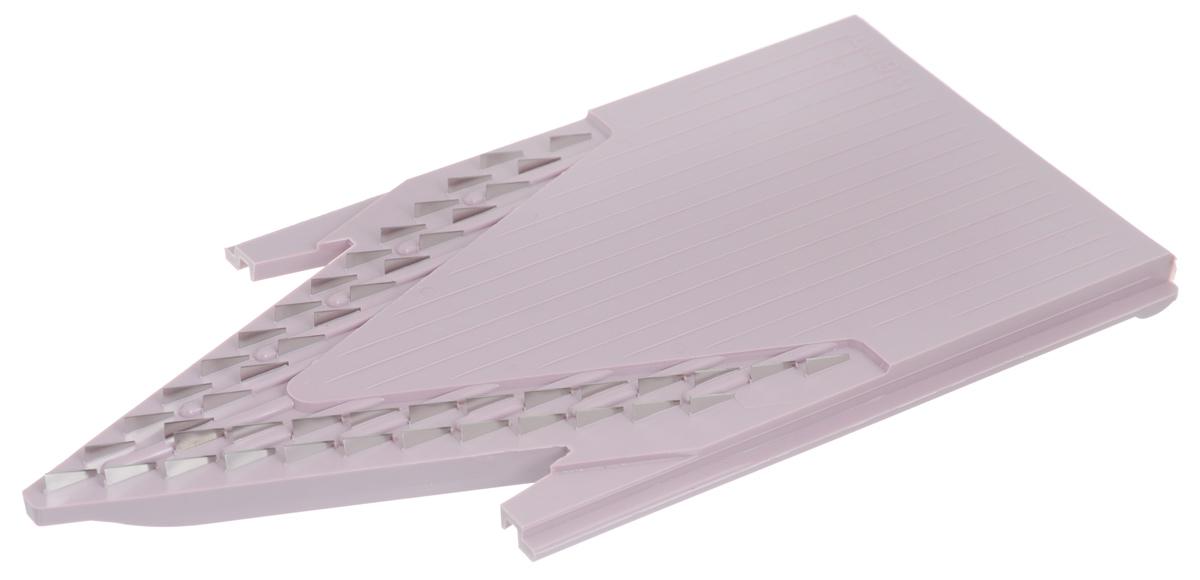 Вставка для терки Borner Classic, цвет: сиреневый, 1,6 мм3810495Вставка Borner Classic дополняет основной комплект овощерезки. Нарезка из любого продукта получится тонкой длинной или короткой соломкой, мелкими кубиками, в 2 раза мельче, чем на вставке из стандартной комплектации. Очень важно иметь такую вставку для приготовления плова, тонких нежных овощных салатов или еды для малышей.Ширина нарезки: 1,6 мм.