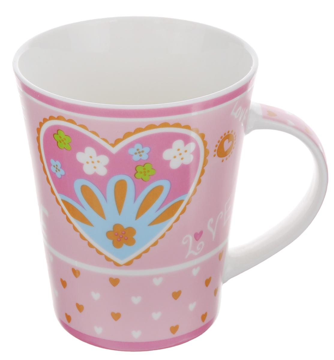 Кружка Loraine Love, цвет: белый, розовый, 400 мл кружка asa selection coppa волны цвет черный белый 400 мл 19103 014