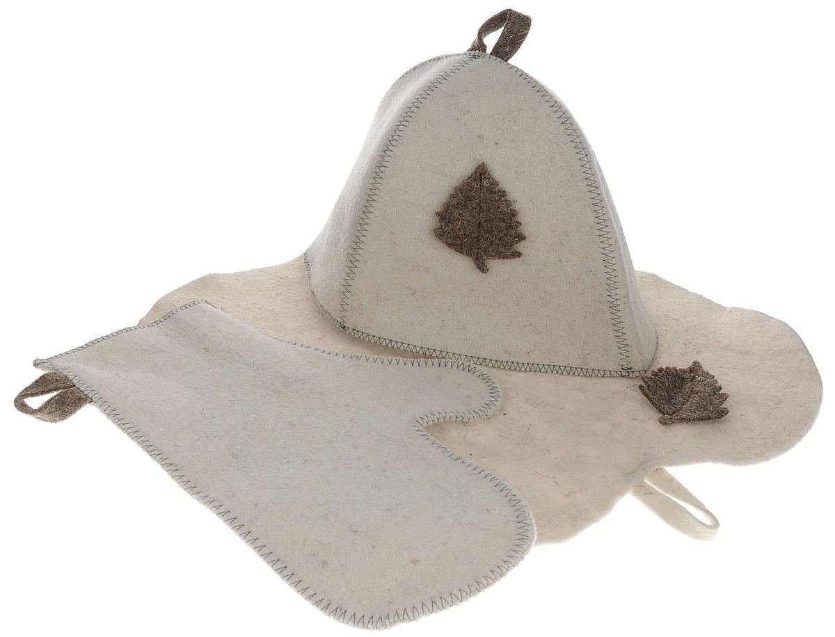 Набор подарочный для бани и сауны Главбаня, цвет: бежевый, 3 предмета. Б1516Б1516_бежевыйПодарочный набор для бани и сауны Главбаня, изготовленный из шерсти и полиэфира, состоит из шапки, рукавицы и коврика. Коврик используется в качестве подстилки на пол или скамейки, он убережет вас от ожогов и воздействия на кожу высоких температур. Шапка - незаменимый атрибут в бане, она предотвращает сухость и ломкость волос, а также защищает от головокружения. Шапка и коврик декорированы объемной фигуркой в виде листочка. Все предметы набора имеют специальную петельку для подвешивания.Такой набор поможет с удовольствием и пользой провести время в бане, а также станет чудесным подарком друзьям и знакомым, которые по достоинству оценят его при первом же использовании.Размер коврика: 44 см х 32 см.Обхват головы: 66 см.Высота шапки: 25 см.Размер рукавицы: 28 см х 22,5 см.