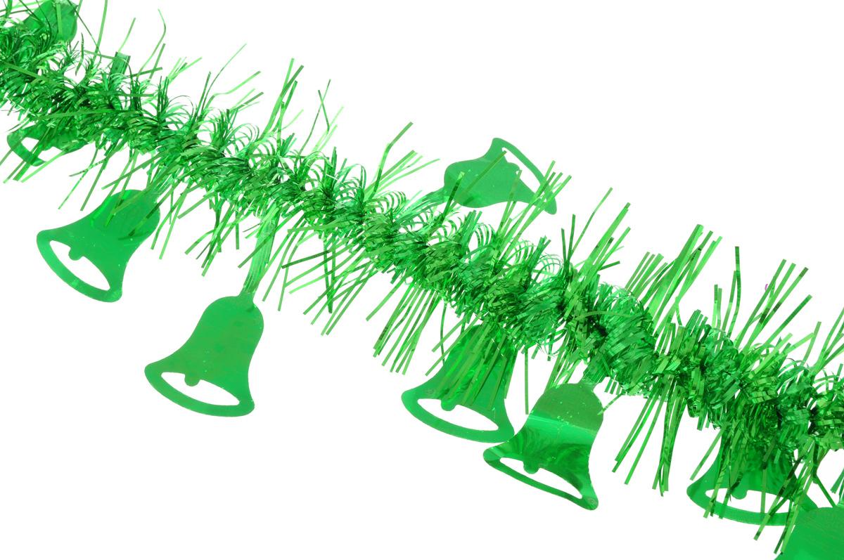 Мишура новогодняя Sima-land, цвет: зеленый, диаметр 2 см, длина 200 см. 706455706455_зеленыйНовогодняя мишура Sima-land, выполненная из фольги, поможет вам украсить свой дом к предстоящим праздникам. Мишура армирована, то есть имеет проволоку внутри и способна сохранять приданную ей форму. По всей длине изделие украшено фигурками из фольги в виде колокольчиков.Новогодней мишурой можно украсить все, что угодно - елку, квартиру, дачу, офис - как внутри, таки снаружи. Можно сложить новогодние поздравления, буквы и цифры, мишурой можно украсить идополнить гирлянды, можно выделить дверные колонны, оплести дверные проемы.