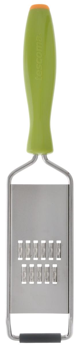Терка для нарезки овощей тонкой соломкой Tescoma Presto Carving422050Терка для нарезки овощей Tescoma Presto Carving предназначена для создания тонкой соломки из огурцов, моркови, редиса, картофеля и других овощей. Терка выполнена из нержавеющей стали, оснащена удобной пластмассовой ручкой. Основание снабжено нескользящей резиновой накладкой. Можно мыть в посудомоечной машине. Ширина лезвия: 4,5 см. Длина терки: 23,5 см.