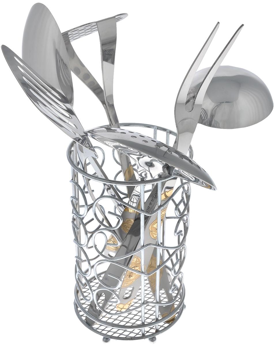 Набор кухонных принадлежностей Mayer & Boch, 7 предметов. 31753175Набор кухонных принадлежностей Mayer & Boch состоит из ложки кулинарной, вилки кулинарной, половника, шумовки, лопатки кулинарной, пресса для картофеля и металлической подставки. Предметы набора выполнены из высококачественной нержавеющей стали 18/10 и оснащены эргономичными ручками, которые декорированы позолотой и матовой поверхностью. Они имеют отверстия на конце, благодаря которым, вы сможете их подвесить в любое для вас удобное место. Эксклюзивный дизайн, эстетичность и функциональность набора Mayer & Boch позволят ему занять достойное место среди кухонного инвентаря. Длина ложки: 31,5 см. Длина вилки: 31,5 см. Длина половника: 27 см. Длина шумовки: 31,5 см. Длина лопатки: 32,5 см. Длина пресса для картофеля: 39 см. Размер подставки: 10,8 см х 10,8 см х 18,5 см.