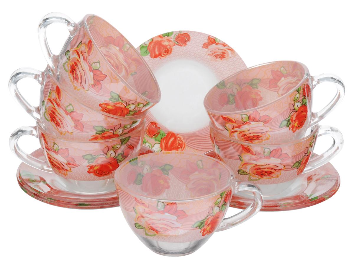 Сервиз чайный Bohmann, 12 предметов, цвет: розовый, прозрачный, зеленый. 01200BHG180789Чайный сервиз Bohmann состоит из шести чашек и шести блюдец, изготовленных из высококачественного прозрачного стекла. Предметы набора оформлены красочным принтом. Изящный дизайн придется по вкусу и ценителям классики, и тем, кто предпочитает утонченность и изысканность. Он настроит на позитивный лад и подарит хорошее настроение с самого утра. Сервиз чайный - идеальный и необходимый подарок для вашего дома и для ваших друзей в праздники, юбилеи и торжества! Он также станет отличным корпоративным подарком и украшением любой кухни. Диаметр блюдца: 12,5 см. Объем чашки: 200 мл. Диаметр чашки по верхнему краю: 9 см. Высота чашки: 6 см.