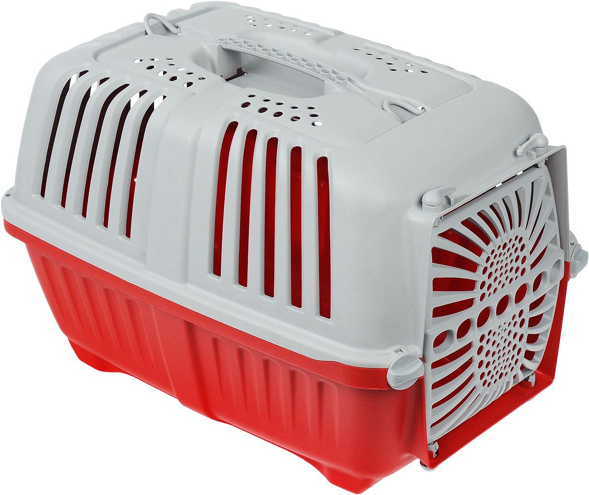 Переноска для животных MPS  Pratiko , с пластиковой дверцей, цвет: красный, светло-серый, 48 см х 31,5 см х 33 см - Переноски, товары для транспортировки