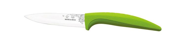 Нож универсальный Mayer & Boch, керамический, цвет: салатовый, белый, длина лезвия 10,2 см. 2184021840_салатовыйУниверсальный нож Mayer & Boch выполнен из высококачественной керамики, рукоятка изготовлена из термопластика. Лезвие декорировано оригинальным цветочным рисунком. Нож легко режет любые виды продуктов. Высокая плотность и качество ножа делают его устойчивым к пищевым кислотам, препятствуют появлению пятен или ржавчины. Нож не придает металлического вкуса или запаха продуктам, а также имеет поверхность, не допускающую прилипания, что делает нож более гигиеничным и безопасным. Легко моется. Нельзя мыть в посудомоечной машине. Общая длина ножа: 20,2 см.