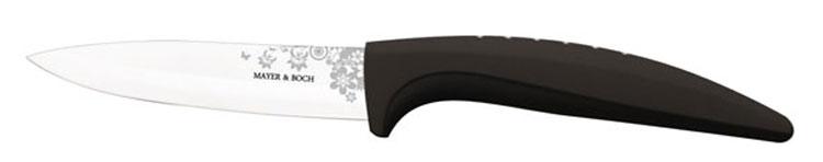 Нож универсальный Mayer & Boch, керамический, цвет: черный, белый, длина лезвия 10,2 см. 2184021840_черныйУниверсальный нож Mayer & Boch выполнен из высококачественной керамики, рукоятка изготовлена из термопластика. Лезвие декорировано оригинальным цветочным рисунком. Нож легко режет любые виды продуктов. Высокая плотность и качество ножа делают его устойчивым к пищевым кислотам, препятствуют появлению пятен или ржавчины. Нож не придает металлического вкуса или запаха продуктам, а также имеет поверхность, не допускающую прилипания, что делает нож более гигиеничным и безопасным. Легко моется. Нельзя мыть в посудомоечной машине. Общая длина ножа: 20,2 см.