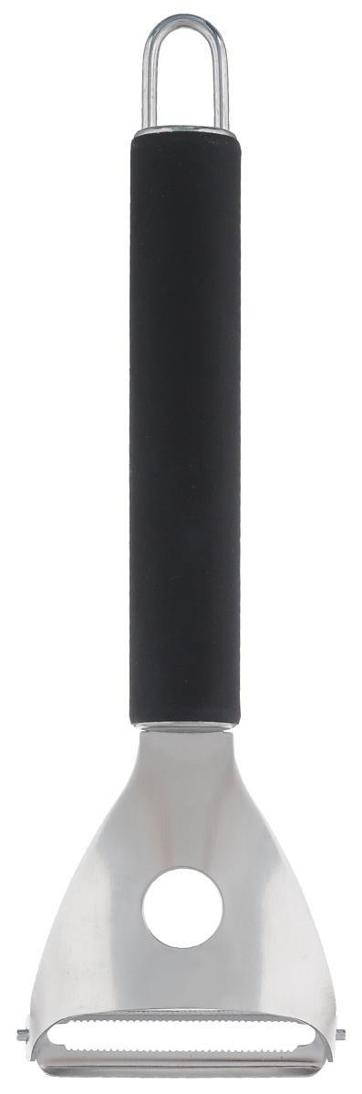 Нож для чистки картофеля Miolla, цвет: черный, длина 17,5 см869056Нож для чистки Miolla имеет вращающееся лезвие для удобства обработки картофеля. Особенности ножа Miolla:- лезвие выполнено из высококачественной нержавеющий стали, что обеспечит долговечное использование;- рукоять ножа изготовлена из прочного пластика и имеет нескользящее покрытие со специальным упором для пальца, предотвращающим соскальзывание руки.Нож для чистки Miolla станет хорошим инструментом для ежедневной работы на кухне. Можно мыть в посудомоечной машине.Длина лезвия: 4,8 см.Длина ножа: 17,5 см.