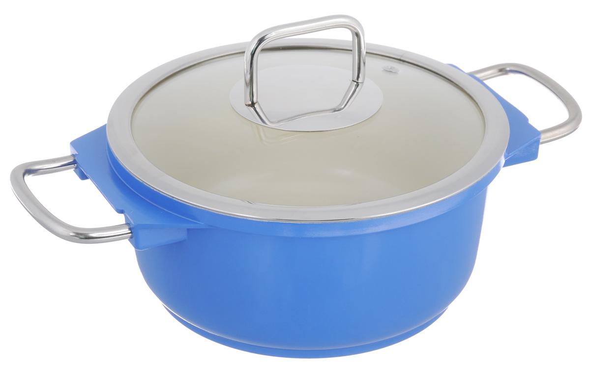 Кастрюля Mayer & Boch с крышкой, с керамическим покрытием, цвет: синий, 2,5 л21236Кастрюля Mayer & Boch изготовлена из высококачественной пищевой нержавеющей стали. Яркая эмалированная внешняя поверхность придает ей привлекательный внешний вид. Внутренняя поверхность с керамическим покрытием идеально ровная, что значительно облегчает мытье. Энергосберегающее капсульное алюминиевое дно быстро и равномерно распределяет тепло. Крышка, выполненная из термостойкого стекла, позволит вам следить за процессом приготовления пищи. Она имеет отверстие для выхода пара и металлический обод, также плотно прилегает к краю кастрюли, предотвращая проливание жидкости и сохраняя аромат блюд. Подходит для использования на всех типах плит, кроме индукционных. Можно мыть в посудомоечной машине.Диаметр кастрюли (по верхнему краю): 20 см. Ширина кастрюли (с учетом ручек): 31,5 см. Высота стенки: 9,5 см. Толщина стенки: 3 мм. Толщина дна: 5 мм.
