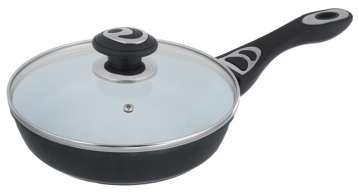 Сковорода Bohmann с крышкой, с керамическим покрытием, цвет: темно-зеленый. Диаметр 22 см. 7512BH7512BH_темно-зеленыйСковорода Bohmann изготовлена из алюминия с износоустойчивым керамическим покрытием. Благодаря керамическому покрытию пища не пригорает и не прилипает к поверхности сковороды, что позволяет готовить с минимальным количеством масла. Кроме того, такое покрытие абсолютно безопасно для здоровья человека, так как не содержит вредной примеси PTFE. Керамическое покрытие устойчиво к высоким температурам, резким перепадам температур и коррозии. Покрытие устойчиво к царапинам и имеет водоотталкивающий эффект. Рифленая внутренняя поверхность сковороды в виде сот обеспечивает быстрое и легкое приготовление. Внешнее покрытие - жаростойкий лак, который сохраняет цвет долгое время и обладает жироотталкивающими свойствами. Сковорода быстро разогревается, распределяя тепло по всей поверхности, что позволяет готовить в энергосберегающем режиме, значительно сокращая время, проведенное у плиты. Сковорода оснащена удобной ручкой, выполненной из бакелита с прорезиненным покрытием. Такая ручка не нагревается в процессе готовки и обеспечивает надежный хват. Крышка изготовлена из жаропрочного стекла, оснащена ручкой, отверстием для выпуска пара и металлическим ободом. Благодаря такой крышке можно следить за приготовлением пищи без потери тепла. Подходит для всех типов плит, включая индукционные. Можно мыть в посудомоечной машине. Высота стенки: 5 см. Толщина стенки: 4 мм. Толщина дна: 5 мм. Длина ручки: 18 см.