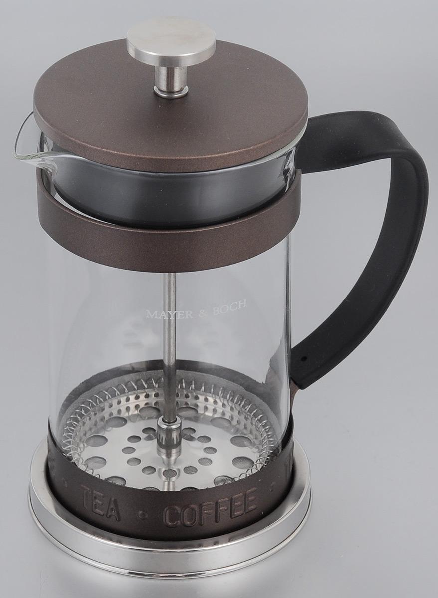 Френч-пресс Mayer & Boch, цвет: коричневый, прозрачный, 600 мл. 2491324913Френч-пресс Mayer & Boch  изготовлен из высококачественной нержавеющей стали и жаропрочного стекла. Фильтр-поршень из нержавеющей стали выполнен по технологии press-up для обеспечения равномерной циркуляции воды. Засыпая чайную заварку или кофе под фильтр, заливая горячей водой, вы получаете ароматный напиток с оптимальной крепостью и насыщенностью. Остановить процесс заваривания легко, для этого нужно просто опустить поршень, и все уйдет вниз, оставляя вверху напиток, готовый к употреблению.Френч-пресс Mayer & Boch позволит быстро и просто приготовить свежий и ароматный кофе или чай.