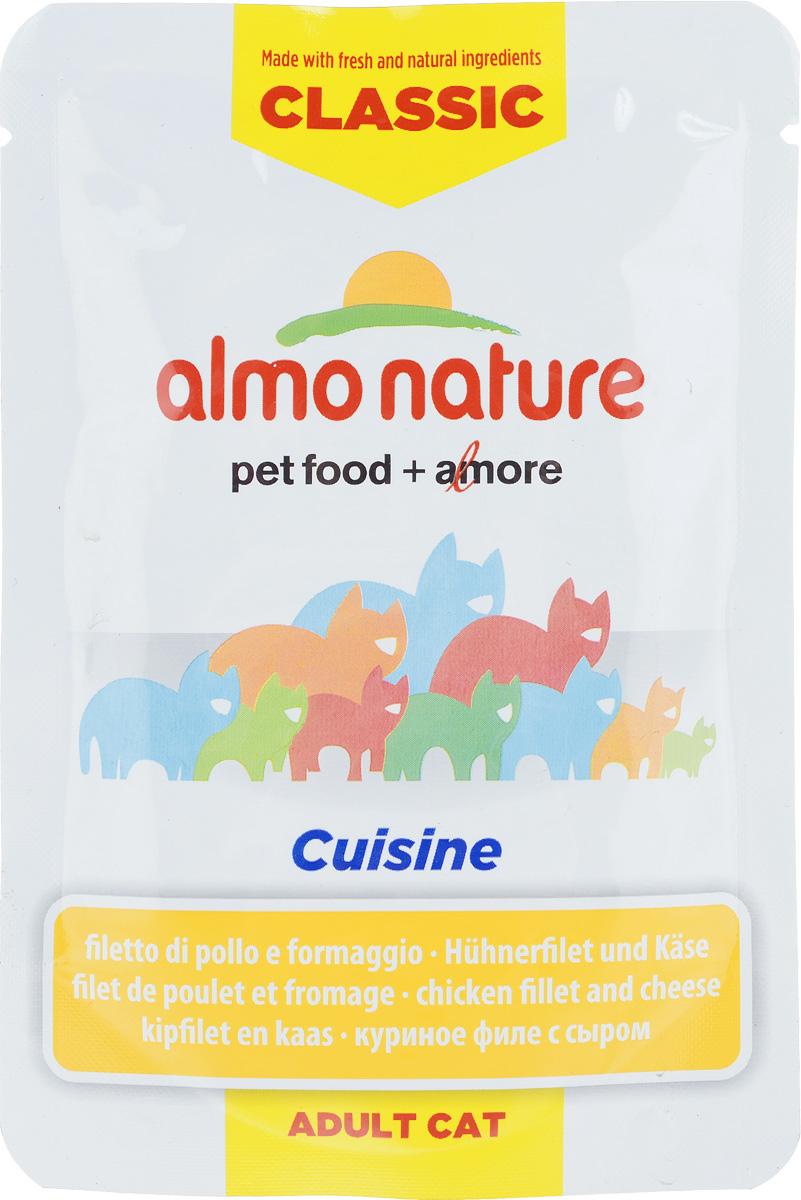 """Консервы для взрослых кошек Almo Nature """"Classic Cuisine"""", куриное филе с сыром, 55 г"""